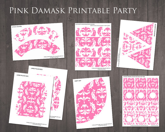 Pink damask party kit