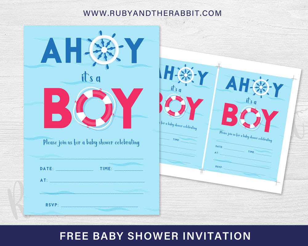 FREE Baby Shower Invitation – Ahoy it\'s a Boy! | Free Party ...