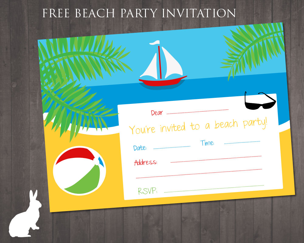 FREE Beach Party invitation | Free Party Invitations by Ruby and the ...