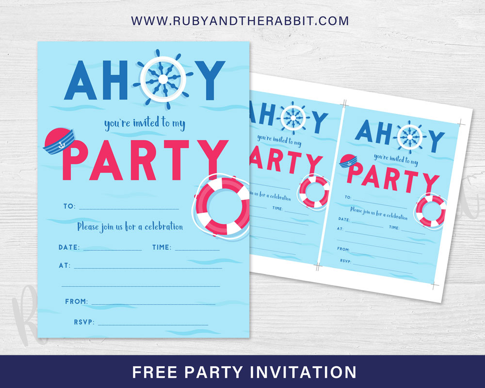 FREE Nautical Party Theme Invitation Free Party Invitations by