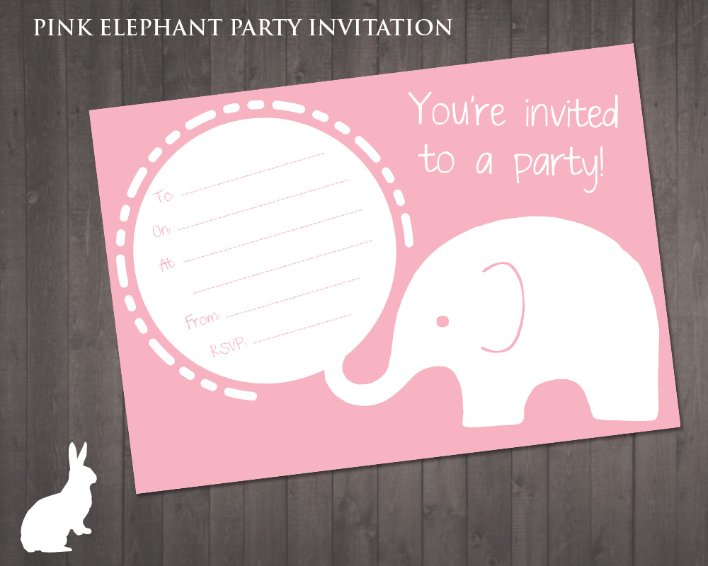 FREE Pink Elephant Party Invitation – Free Party Invites
