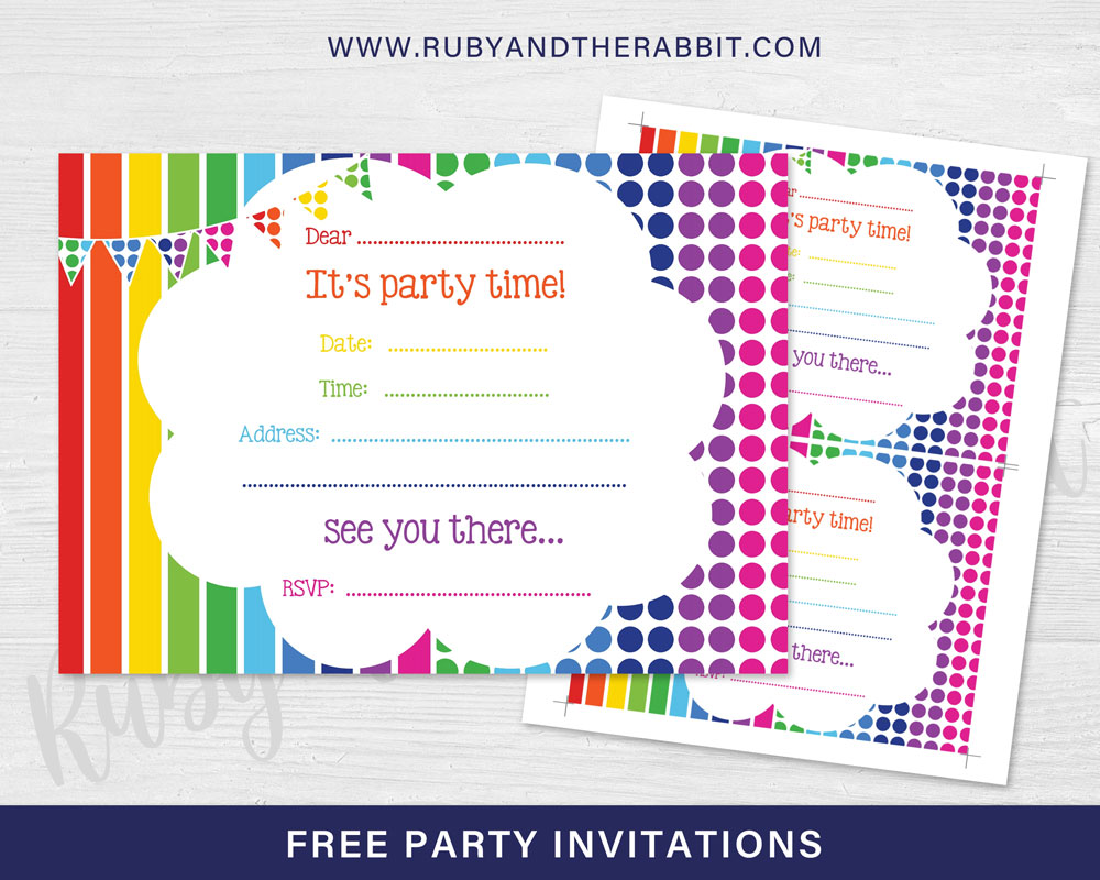 Free rainbow party invitation free party invitations by ruby and free rainbow party invitation free party invitations by ruby and the rabbit stopboris Choice Image