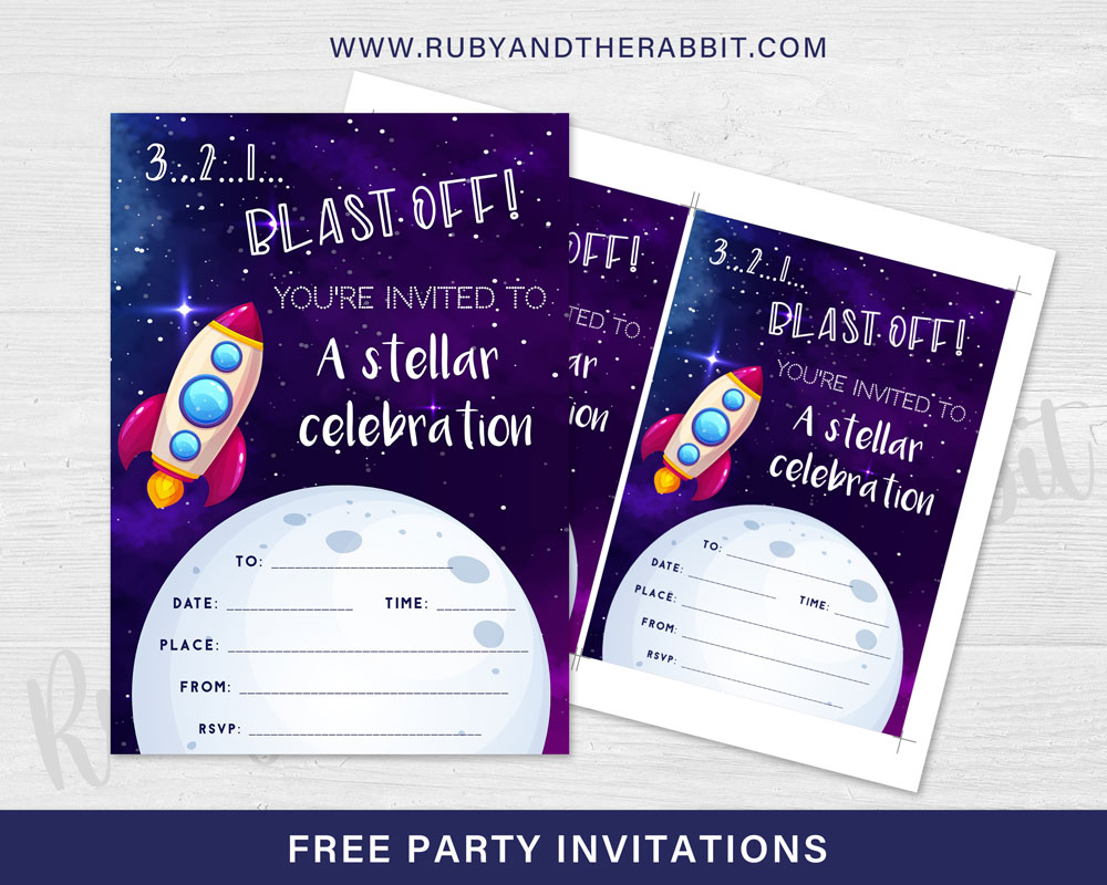 FREE Space Rocket Party Invitation