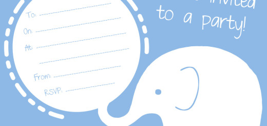Free blue elephant party invitation
