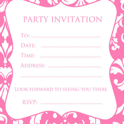 Free pink damask party invitation