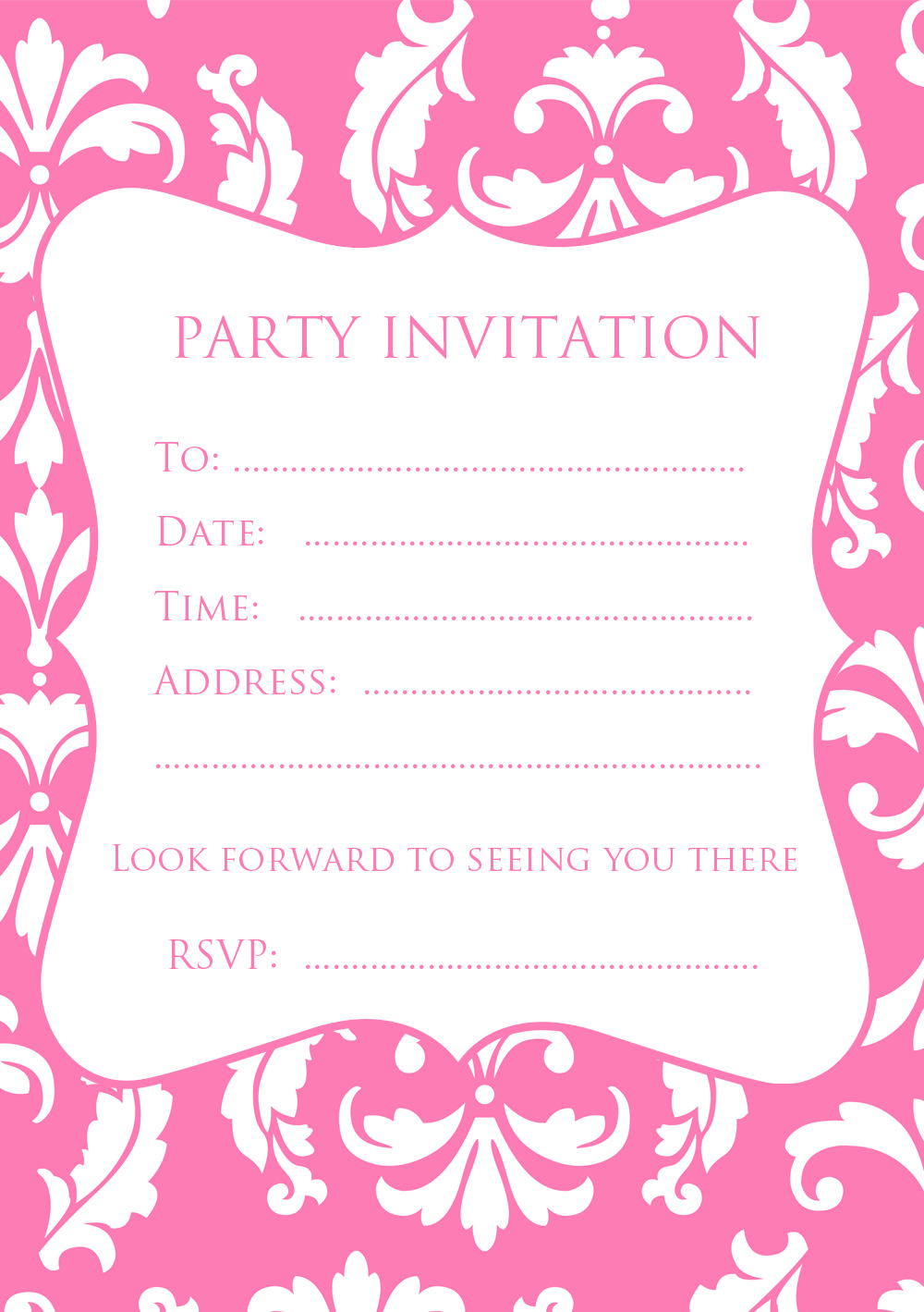 FREE Pink Damask Party Invitation | Free Party Invitations ...