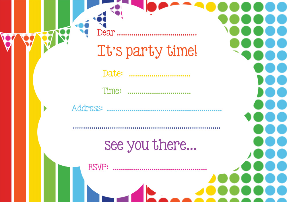 free rainbow party invitation  free party invitations by ruby and, Birthday invitations