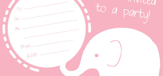 Free pink elephant party invitation