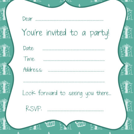 Free cake and presents party invitation