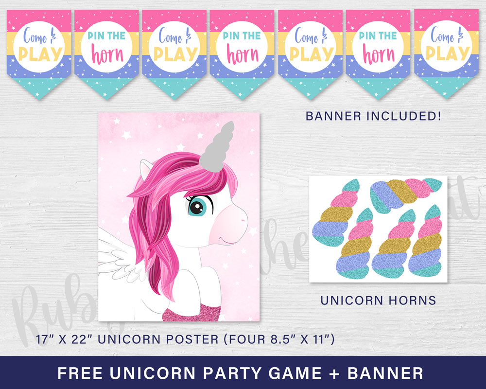 Free Unicorn Party Game Pin the Horn on the Unicorn